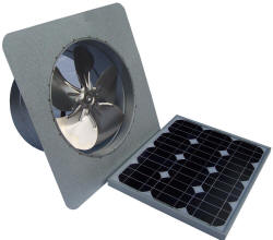 Attic Breeze manufactures the most powerful and durable solar powered gable fans available.  Our solar gable fans move over 1550 CFM of air flow!